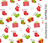 seamless pattern of christmas... | Shutterstock . vector #669986743