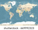 vintage world map and markers   ... | Shutterstock .eps vector #669992323