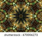 Yellow Leafy Fractal Mandala ...