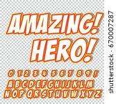 comic alphabet set. letters ... | Shutterstock .eps vector #670007287