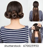 hairstyle three twisted buns....   Shutterstock . vector #670025953