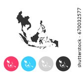 southeast asia map isolated on... | Shutterstock .eps vector #670032577