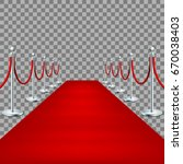realistic red carpet between... | Shutterstock .eps vector #670038403