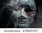 mysterious woman in black... | Shutterstock . vector #670055707