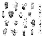 set of cactus  doodle sketch | Shutterstock .eps vector #670059583