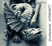 Gargoyle In Black And White On...