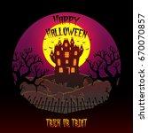 happy halloween with dark... | Shutterstock .eps vector #670070857