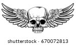winged skull vintage woodcut... | Shutterstock . vector #670072813