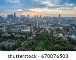 sunrise in chengdu  china | Shutterstock . vector #670076503