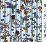 embroidery bicycle with basket... | Shutterstock .eps vector #670077313