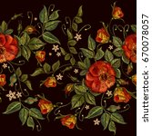 Embroidery Wild Red Roses...