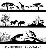 wild animals giraffes  horses ... | Shutterstock .eps vector #670081537