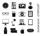 set flat black silhouette... | Shutterstock . vector #670091287