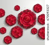 Red Paper Roses With Drops Of...