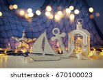 magical lantern with candle... | Shutterstock . vector #670100023