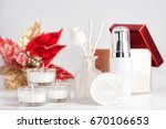 red and white christmas spa... | Shutterstock . vector #670106653