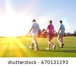 rear view of three young... | Shutterstock . vector #670131193