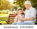 happy senior man enjoying...   Shutterstock . vector #670139803