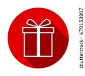 gift icon isolated on red... | Shutterstock .eps vector #670153807