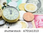 Brass Pocket Watch With Coins...