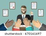businessman speaks  human hands ... | Shutterstock .eps vector #670161697