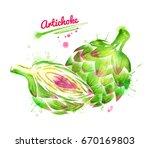 watercolor illustration of... | Shutterstock . vector #670169803