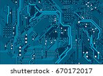 vector blue electronic circuit... | Shutterstock .eps vector #670172017
