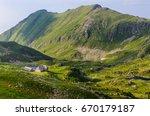podragu lake and cabana ...   Shutterstock . vector #670179187