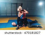 woman fights with man  self... | Shutterstock . vector #670181827