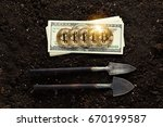 mining golden bitcoins | Shutterstock . vector #670199587