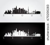 seoul skyline and landmarks... | Shutterstock .eps vector #670200283