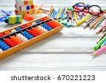close up view of abacus scores... | Shutterstock . vector #670221223