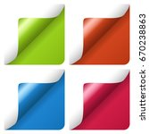 set of curled corners of sheet  | Shutterstock .eps vector #670238863