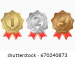 gold  silver and bronze medals... | Shutterstock .eps vector #670240873