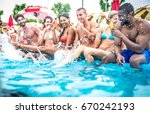 multi ethnic group of friends... | Shutterstock . vector #670242193
