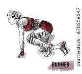 hand sketch of a woman runner... | Shutterstock .eps vector #670256347