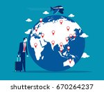 travel. businessman with... | Shutterstock .eps vector #670264237