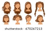 beautiful  hairstyle woman ... | Shutterstock .eps vector #670267213