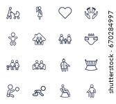 set of 16 people outline icons... | Shutterstock .eps vector #670284997