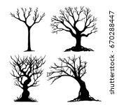 set of halloween tree . dead... | Shutterstock .eps vector #670288447