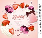 strawberry milkshake in... | Shutterstock .eps vector #670292203
