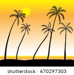 coconut sea at sunset vector... | Shutterstock .eps vector #670297303