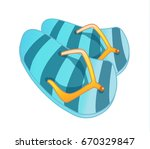 slippers for the beach  slates  ... | Shutterstock .eps vector #670329847