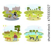 people with dogs set. flat... | Shutterstock .eps vector #670333327