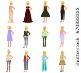 set of women in fashion clothes ... | Shutterstock .eps vector #670333333