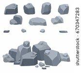 Rocks Cartoon Set. Different...