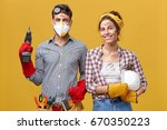 young male carpenter wearing... | Shutterstock . vector #670350223
