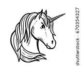 unicorn head hand drawn... | Shutterstock .eps vector #670354327