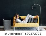 home portrait of pre teen child ... | Shutterstock . vector #670373773