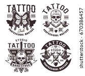 tattoo studio set of four... | Shutterstock .eps vector #670386457